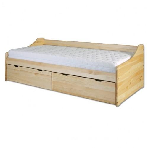 Łóżko sosnowe LK 130 Drewmax z szufladami
